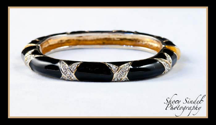 Black Enamel and Pave Rhinestones