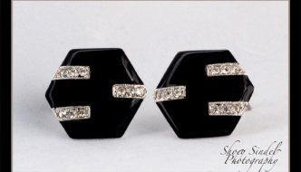 Black Enamel and Rhinestone Deco Earrings