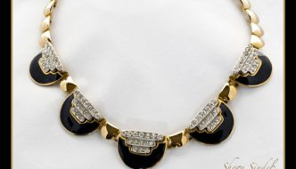 Black Enamel and Rhinestone Deco