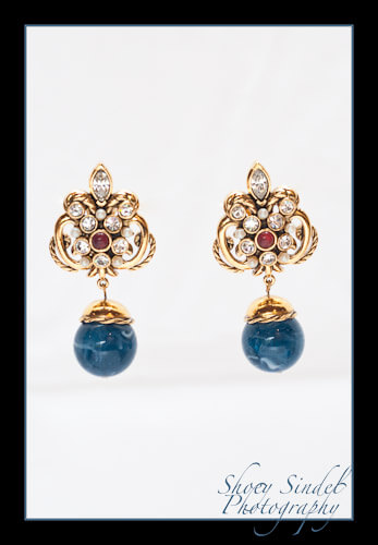 Navy Florentine Drop Earrings
